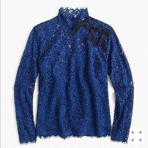 J. Crew Mockneck Top in Floral Lace size 12